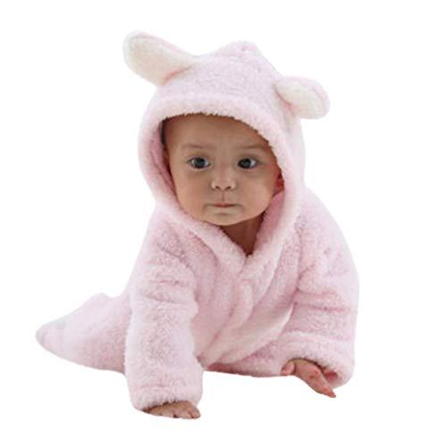 Covermason Grenouillères - Combinaisons et Barboteuses - Bébé Fille Garçon Combinaison De Neige Manteau à Capuche Hiver Combinaisons Pyjama Ensemble de Pyjama 3-12 Mois (Rose, 9Mois)