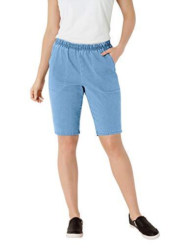 Woman Within Women's Plus Size Fineline Denim Short - 20 W, Light Stonewash Blue