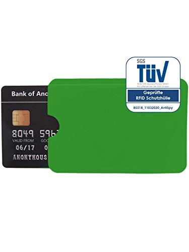 1x Schutzhülle RFID Blocker für NFC Kreditkarte EC Karte und Ausweis Datenschutz (Grün)