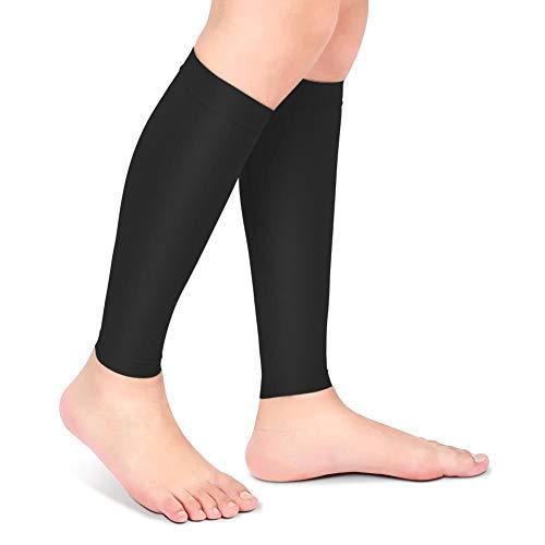 A sixx Calcetín de compresión, Medias varicosas Calcetines atléticos de Manga de Pantorrilla Calcetín elástico de Punta Abierta, calcetín(Black, XXXL)