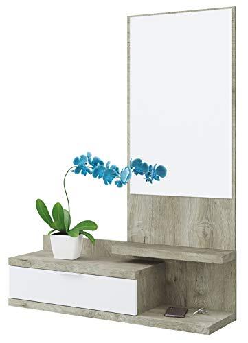 Habitdesign Recibidor con Cajon y Espejo, Mueble de Entrada, Modelo Dahlia, Color Blanco Artik y Roble Alaska, Medidas: 81 cm (Largo) x 116 cm (Alto) x 29 cm (Fondo)