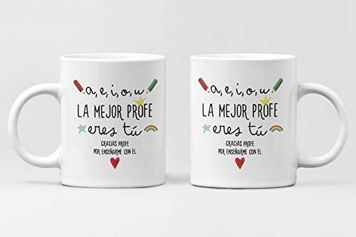 Desconocido Taza LA Mejor PROFE. Taza de Ceramica de café. Regalo Ideal para profes