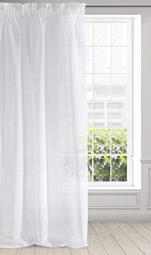 Eurofirany Argea Tenda Liscia e Trasparente in etamina arricciata, Elegante, di Alta qualità, per Camera da Letto, Soggiorno, Salotto, Tessuto, Bianco, 140x270cm
