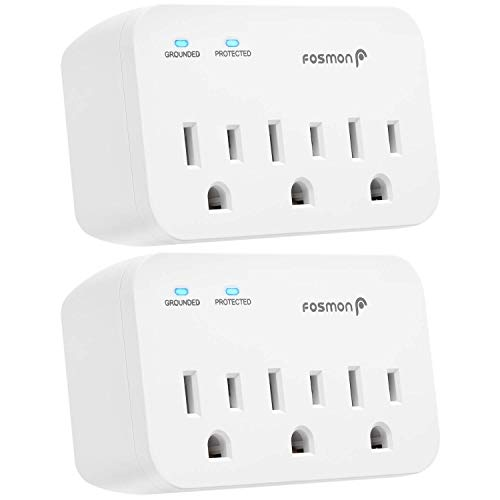 Fosmon 3 Outlet Surge Protector (2 Pack), 1200J Wall Mount Multi Plug Adapter Tap Extender, 1875 Watts Portable Travel Size for Indoor, Office, Dorm Room Essential, Grounded, ETL Listed