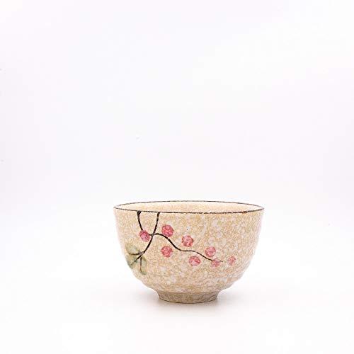 TEZEN Matcha Schale Klassisch Beige mit Sakura für Matcha Tee Zubereitung