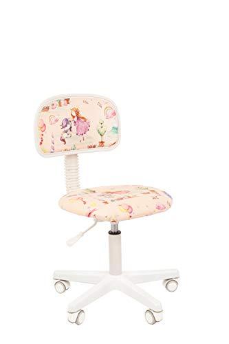 CHAIRJet Sedia da scrivania per bambini, sedia girevole con ruote, sedia girevole da ufficio, con braccioli, in tessuto, per bambini, altezza regolabile, ruote 101 (principessa, senza braccioli)
