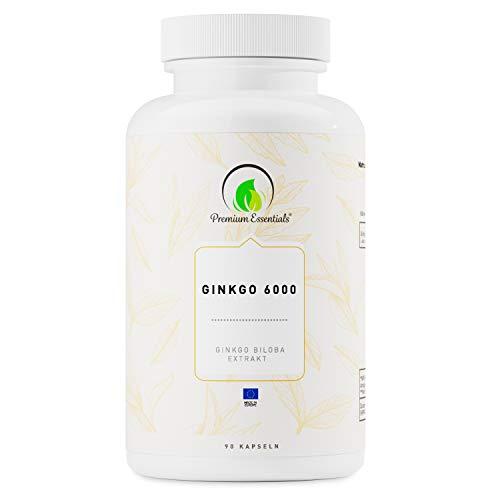 Ginkgo 6000, 90 Kapseln (vegan) Ginkgo Biloba Extrakt | Kann unterstützend wirken für Gedächtnis und Konzentration