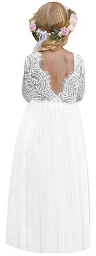 2Bunnies Girl Peony Lace Back A-Line Straight Tutu Tulle Party Flower Girl Dresses (White Long Sleeve Maxi, 3T)