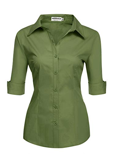 HOTOUCH Womens 3/4 Sleeve Button Down Shirt with Stretch,Army Green,Small