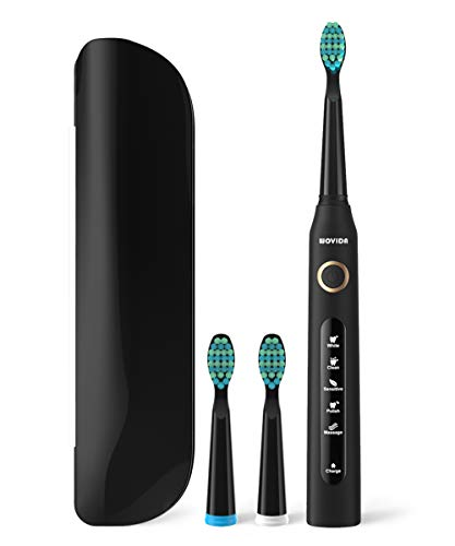 Travel Sonic Electric Toothbrush Power Toothbrush with Travel Case, 5 Modes and 3 Brush Heads, USB Charging Toothbrush with 2-Minute Timer, Waterproof Black