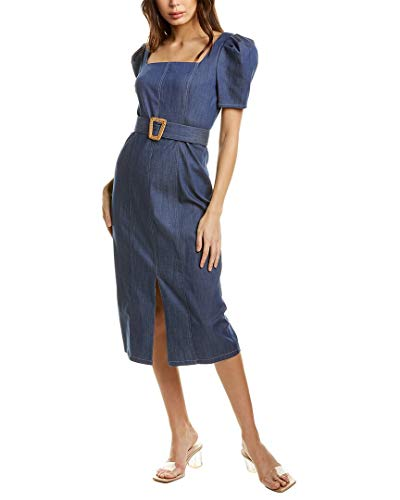 Shoshanna Women's Midi Dress, Denim Blue, 10