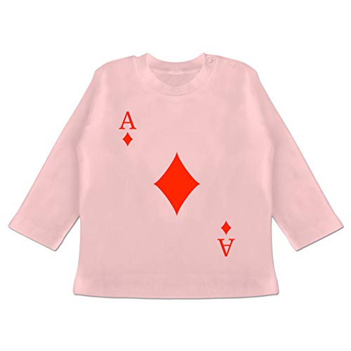 Karneval und Fasching Baby - Karo Ass Kartenspiel Karneval Kostüm - 12/18 Monate - Babyrosa - Kartenspiel - BZ11 - Baby T-Shirt Langarm
