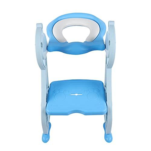 Entrenador de inodoro para niños, altura regulable, impermeable, suave, antideslizante, estable, plegable, con cojines, asas, escaleras, adecuado para niños menores de dos años (azul)