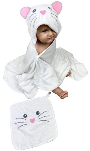 Toalla HECKBO® con capucha de pollito en 3D + toallita GRATIS, 0-6 años, Cierre mediante 2 botones de clip, Dimensiones: 90 x 100 cm, Toalla de baño para niños y niñas con capucha, Albornoz para bebés