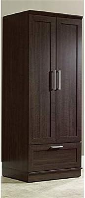 Bedroom Wardrobe Armoire Cabinet in Dark Brown Oak Wood Finish Wardrobe Cabinet Armoire Closet Storage Bedroom Wood Clothes Furniture Svitlife