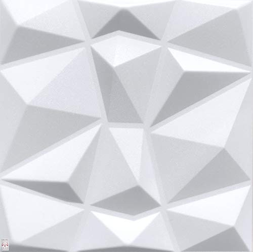 5qm / 3D Wandpaneele Wandverkleidung Deckenpaneele Platten Paneele DIAMANT Weiß POLYSTYROL MATERIAL (5qm = 20Stück)