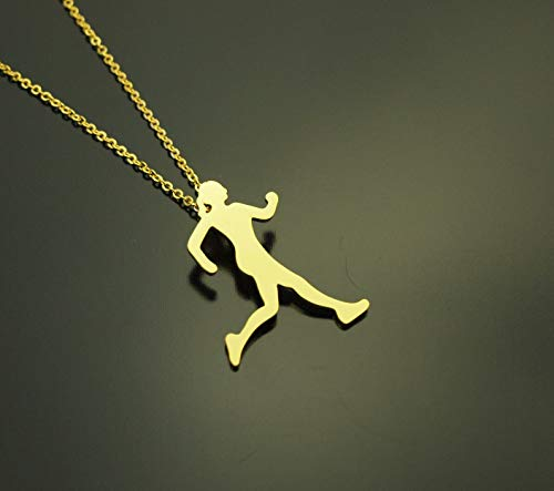 Kette Läuferin Joggen Sport Wettkampf Anhänger golden Juvelato