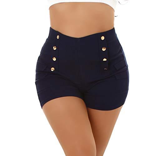 Jela London Damen Hotpants High-Waist Stretch Kurze Shorts Deko-Elemente Slim sexy, Blau 36-38 (S/M)