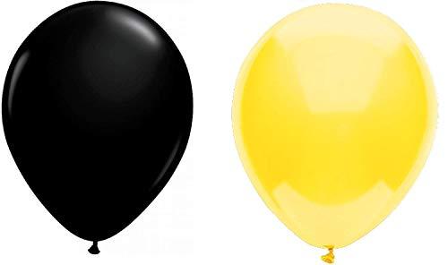 INERRA Globos - Paquete de 50 Mezclado (25 X Amarillo & 25 X Negro) Látex 10' For Helio o Aire - Cumpleaños y Boda