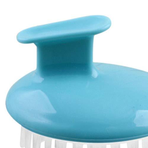Anticaspa Picazón Cuero cabelludo Masaje Peine Cabeza de silicona Cuerpo para lavar Cuidado limpio Raíz del cabello Ducha Cepillo Baño Spa Adelgazamiento, Azul cielo