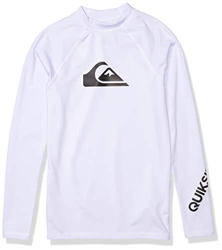 Quiksilver Boys' All Time Long Sleeve Youth Rashguard Surf Shirt, White, L/14