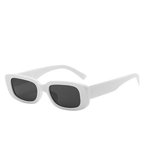ZYHWS Gafas de Sol de la Vendimia para Las Mujeres Retro diseñador de la Marca Pequeño rectángulo Gafas de Sol Sombras de gradiente Classic Gafass (Frame Color, Lenses Color : White)
