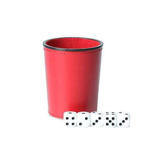 YUANLIN Dados Cuero PU Trompeta Franela Dados Copa Bar KTV Entertainment Dice Cup con Dados dcc Dados ( Color : Red )