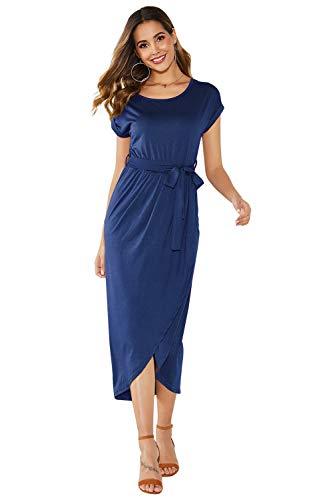 Yidarton Sommerkleid Damen Shirt Kleider Lang Strandkleid Beach Kleid Partykleid Elegant Maxikleid (L, Blau)