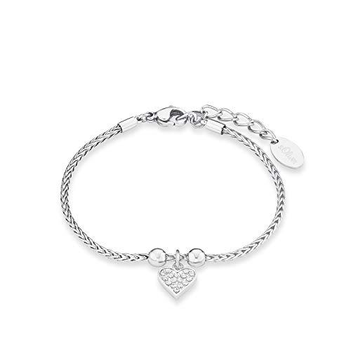 S.Oliver Damen Armband Zopfmuster mit Herz-Anhänger Edelstahl glänzend Zirkonia 17+3 cm weiß