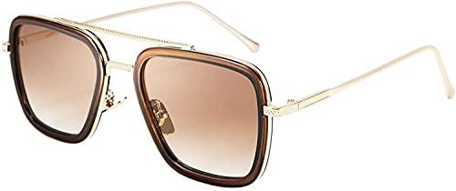 Tony Stark - Gafas de sol estilo vintage, cuadradas, marco de metal, para hombres y mujeres, estilo retro Iron Man y Spider-Man, gafas de sol, gafas de Nerd, lentes cuadradas, 51 mm de ancho