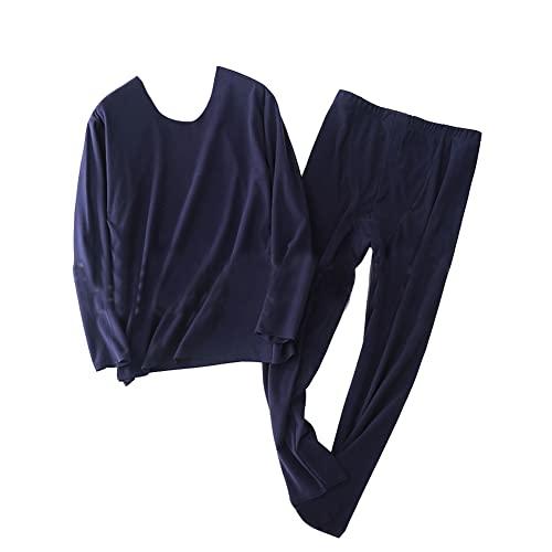 GUOCU Hombre Sin Costuras Set de Ropa interior térmica Invierno Ultra Suave Ropa de Dormir Trajes Conjunto de Camiseta interior de manga larga y Pantalones largos John Leggings pantalón Armadaazul XL