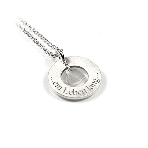 Herz Herzchen Anhänger und 45 cm Lange Kette beides aus 925 Silber mit individueller Gravur mittig mit Herz Symbol | Form: rund | Namenskette Initiale Datum | Schmuck mit Ihrer Gravur | PS54KE2