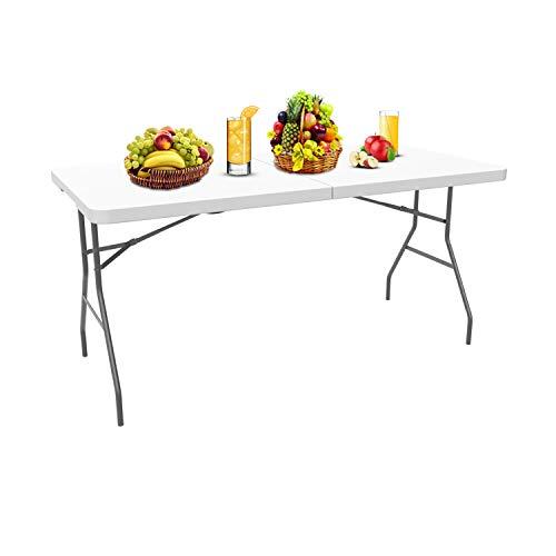 Todeco - Table Pliante, Table en Plastique Robuste, Table Pliante Transportable, Traiteur Pliante Table, Matériau: HDPE, Charge Maximale: 100 kg,180 x 76 cm, Blanc