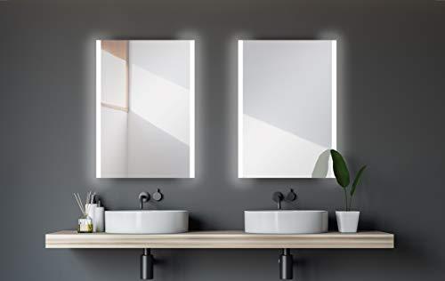 Talos Badspiegel mit Beleuchtung Loft - 50 x 70 cm - horizontale und vertikale Aufhängung - Aluminiumrahmen - Kippschalter