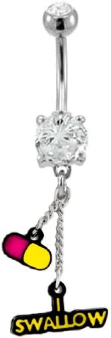 Clear cz gem I Swallow & Pill Drug Dangle Belly Button Navel Ring Piercing bar Body Jewelry 14g