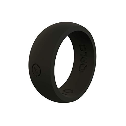 QALO Men's Classic Black Silicone Ring with Compass Logo, Size 11