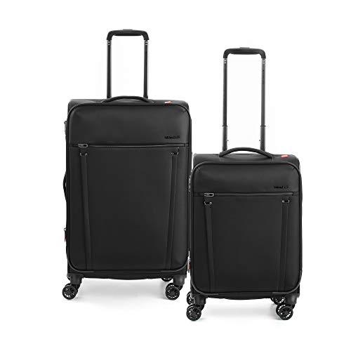 RONCATO Zero gravity Set 2 trolley blandos ampliables (medio + cabina) 4 ruedas tsa Negro
