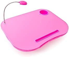 Relaxdays Laptop Tray with Cup Holder and LED Light - Bright Pink