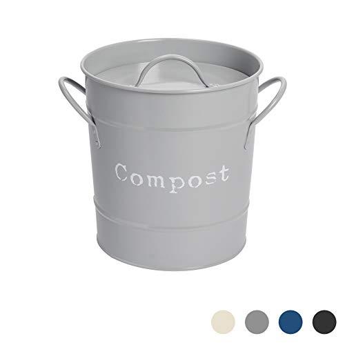 Harbour Housewares Boîte à Compost métallique avec Couvercle - Style Vintage/pour Cuisine - Gris