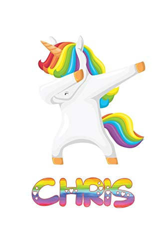 Chris: Chris 6x9 Journal Notebook Dabbing Unicorn Rainbow