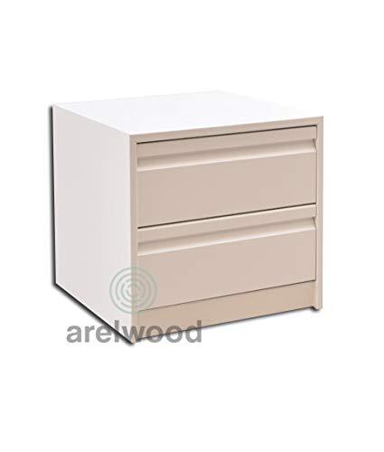 arelwood Cajonera para Armario Frente Postformado Blanca Montada 80x50-2 Cajones. Alto 40,8 cm.