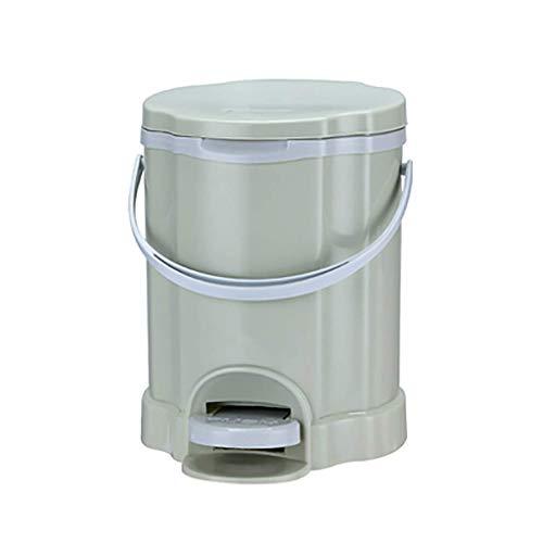 Cubo de basura de plástico redondo portátil con pedal de basura cubo de basura para baño, dormitorio, cocina, oficina, escritorio, papelera (color: verde)