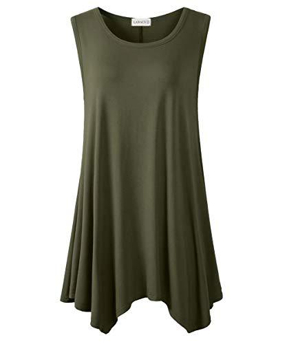 LARACE Women Plus Size Solid Basic Flowy Tank Tops Summer Sleeveless Tunic Army Green