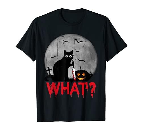 Cat What? Murderous Black Cat With Knife Halloween Costume Camiseta