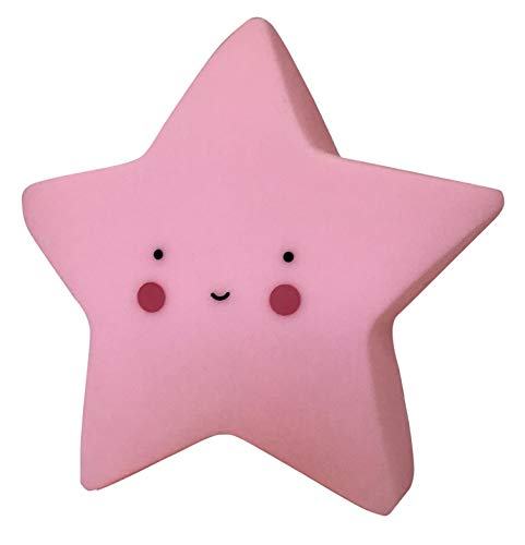Lampara Mini Estrella Color Rosa luz led quitamiedos habitacion Infantil Cuna Bebe Dormitorio 15x15x7