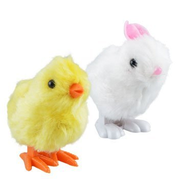 Plush Pair of Hopping Wind-Up Friends! - Bunny AND Chick - Combo Pack of 2 (Colors May Vary)