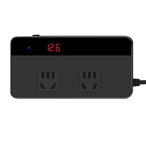 gfjfghfjfh Kfz-Wechselrichter-Adapter 4 USB-Anschlüsse Ladegerät-Adapter Kfz-Stecker-Konverter mit Schalter und aktuellem LCD-Bildschirm