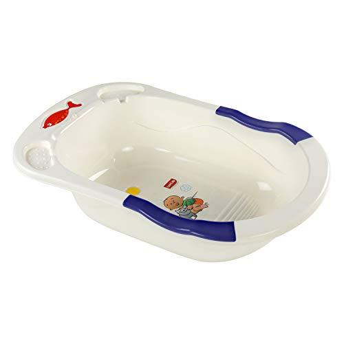 LuvLap Baby Bathtub with anti-slip base (White & Blue)