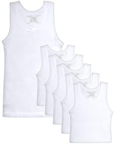 Rene Rofe Girl Undershirt Tank Top, White, Toddler (2T) (Pack of 6)'