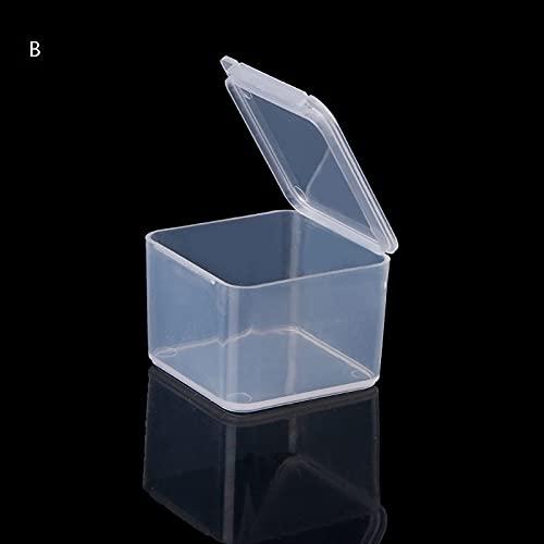 Meijin Wattestäbchen-Box, quadratisch, Kunststoff, transparent, Aufbewahrungsbox für Schmuck, Perlen, Angelzubehör, kleine Gegenstände, Kleinteile, Organizer für Wattestäbchen, Box (Farbe: B)